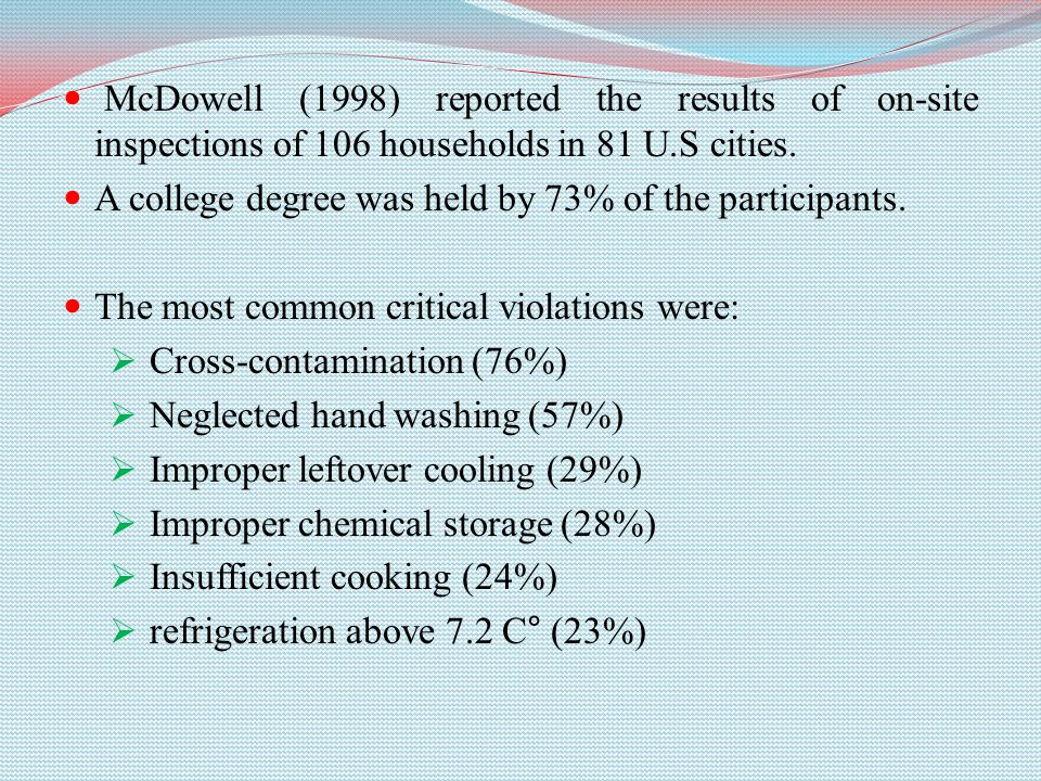 McDowell (1998) reported the results of on-site inspections of 106 households in 81 U.S cities. A college degree was held by 73% of the participants.
