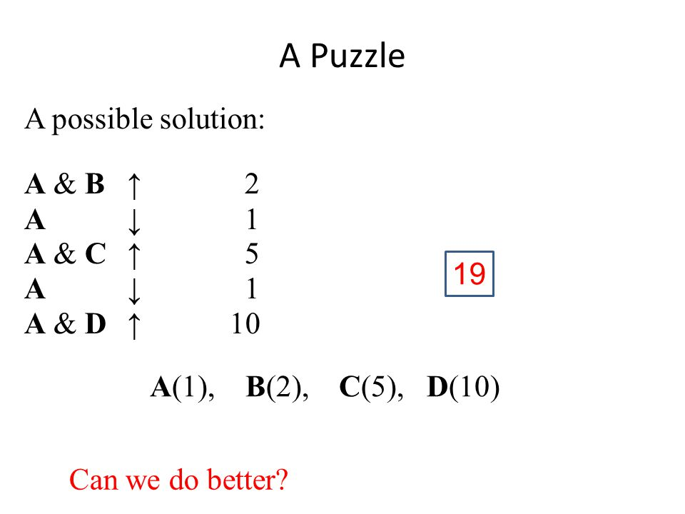 A possible solution: A & B↑ 2 A ↓ 1 A & C↑ 5 A ↓ 1 A & D↑10 A(1), B(2), C(5), D(10) A Puzzle Can we do better.