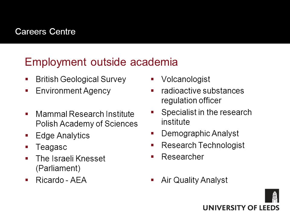 Careers Centre Employment outside academia  British Geological Survey  Environment Agency  Mammal Research Institute Polish Academy of Sciences  Edge Analytics  Teagasc  The Israeli Knesset (Parliament)  Ricardo - AEA  Volcanologist  radioactive substances regulation officer  Specialist in the research institute  Demographic Analyst  Research Technologist  Researcher  Air Quality Analyst