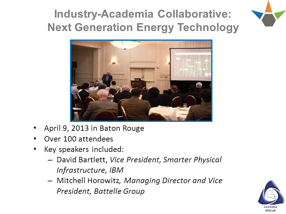 Louisiana EPSCoR April 9, 2013 in Baton Rouge Over 100 attendees Key speakers included: – David Bartlett, Vice President, Smarter Physical Infrastructure, IBM – Mitchell Horowitz, Managing Director and Vice President, Battelle Group Industry-Academia Collaborative: Next Generation Energy Technology