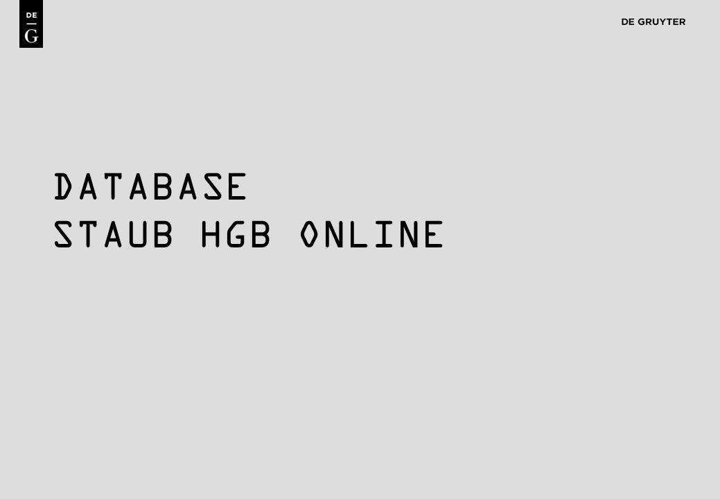 1 DATABASE STAUB HGB ONLINE