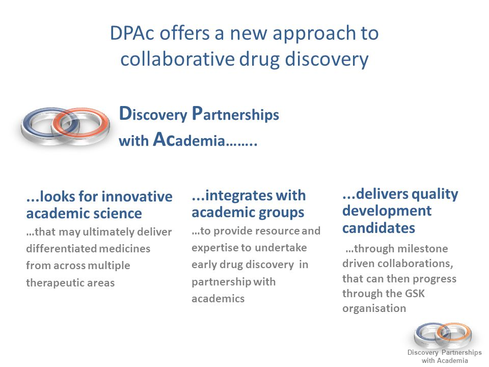 Discovery Partnerships with Academia...looks for innovative academic science …that may ultimately deliver differentiated medicines from across multiple therapeutic areas...integrates with academic groups …to provide resource and expertise to undertake early drug discovery in partnership with academics...delivers quality development candidates …through milestone driven collaborations, that can then progress through the GSK organisation DPAc offers a new approach to collaborative drug discovery D iscovery P artnerships with Ac ademia……..