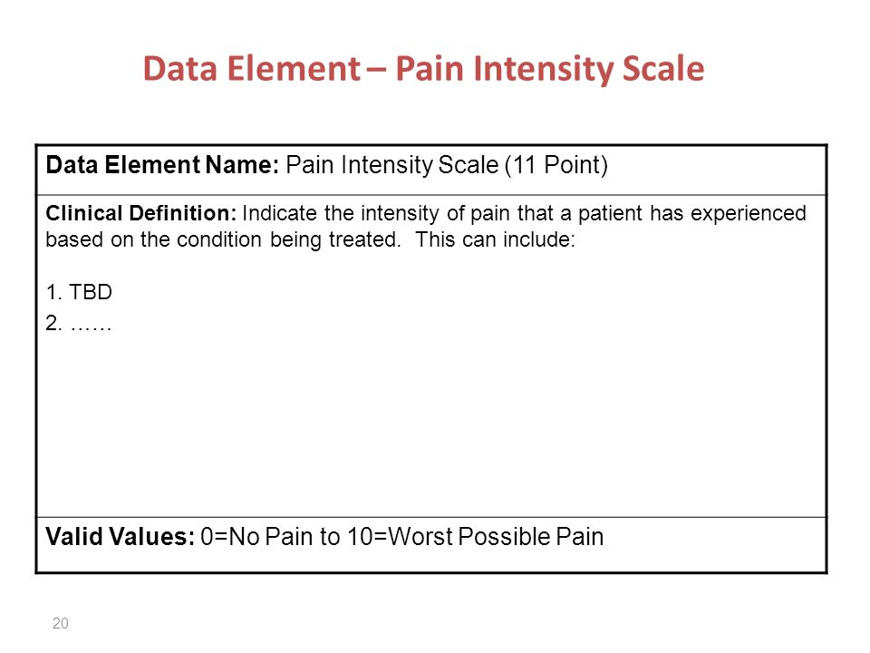 20 Data Element – Pain Intensity Scale Data Element Name: Pain Intensity Scale (11 Point) Clinical Definition: Indicate the intensity of pain that a patient has experienced based on the condition being treated.