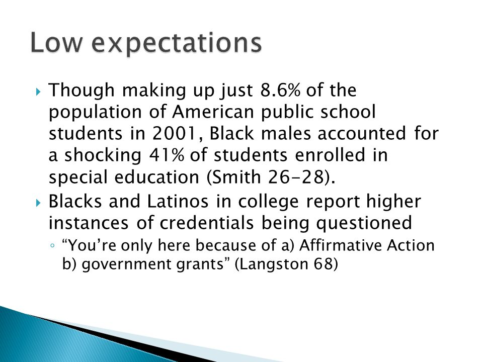  Though making up just 8.6% of the population of American public school students in 2001, Black males accounted for a shocking 41% of students enrolled in special education (Smith 26-28).