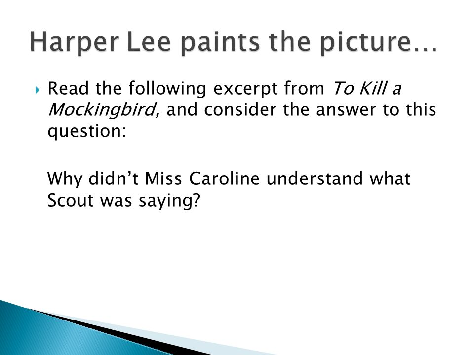 Read the following excerpt from To Kill a Mockingbird, and consider the answer to this question: Why didn't Miss Caroline understand what Scout was saying