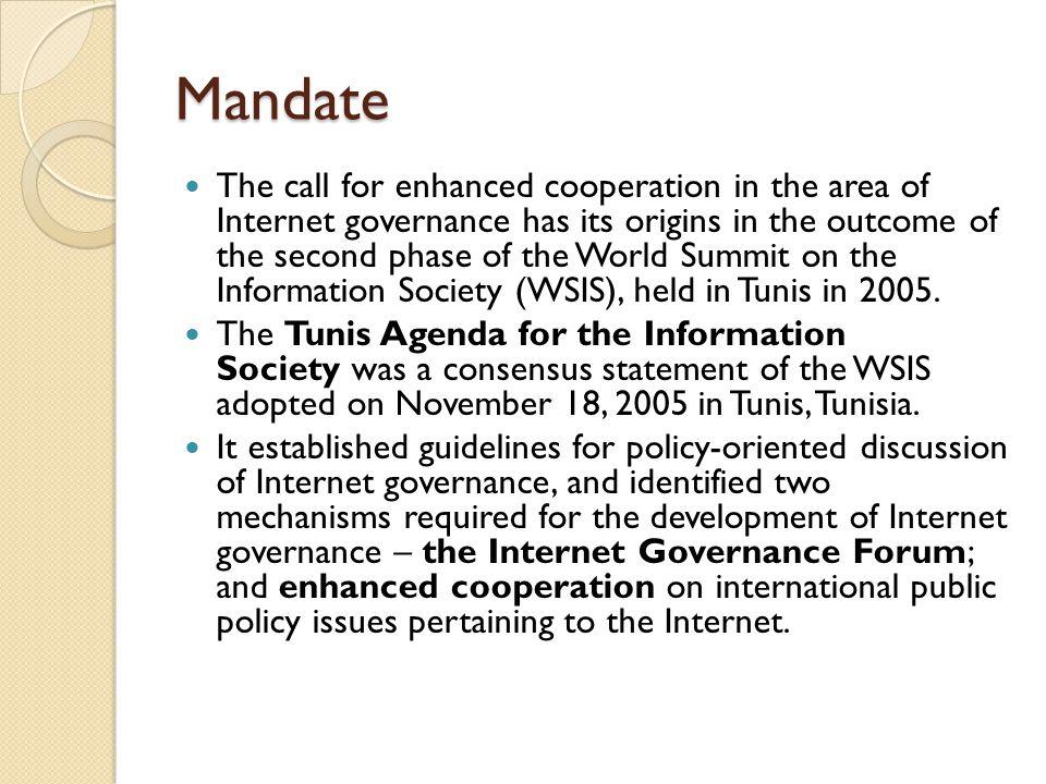 Mandate…Cont.