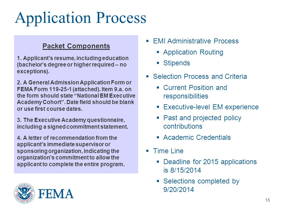 Presenter's Name/Title April 29, 2014 Application Process Packet Components 1.