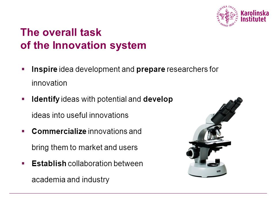 The overall task of the Innovation system  Inspire idea development and prepare researchers for innovation  Identify ideas with potential and develop ideas into useful innovations  Commercialize innovations and bring them to market and users  Establish collaboration between academia and industry