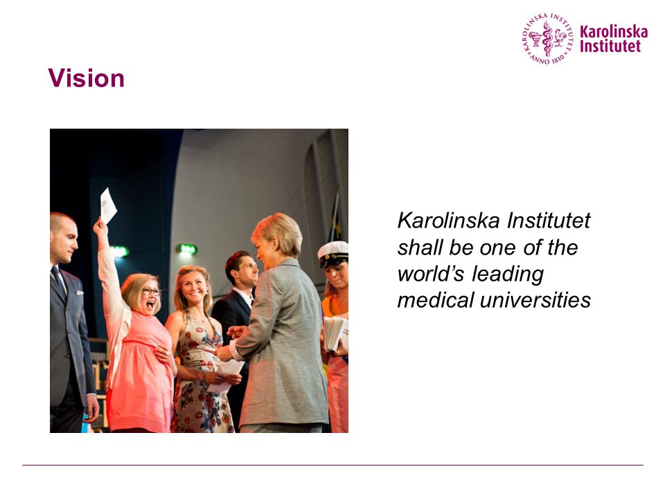 Vision Karolinska Institutet shall be one of the world's leading medical universities