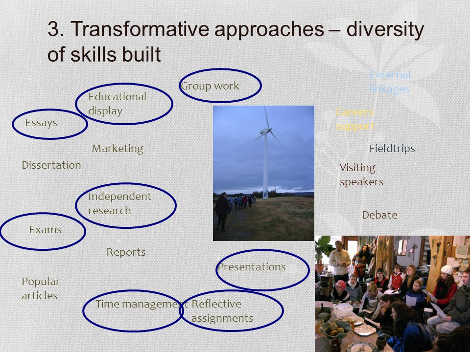 3. Transformative approaches – diversity of skills built Essays Independent research Group work Popular articles Exams Presentations Reports External