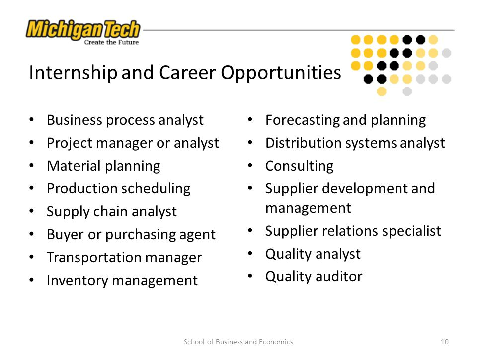 Internship and Career Opportunities Business process analyst Project manager or analyst Material planning Production scheduling Supply chain analyst B