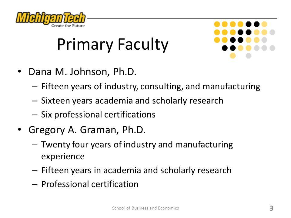 Primary Faculty Dana M. Johnson, Ph.D.