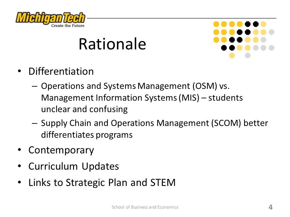 Rationale Differentiation – Operations and Systems Management (OSM) vs. Management Information Systems (MIS) – students unclear and confusing – Supply
