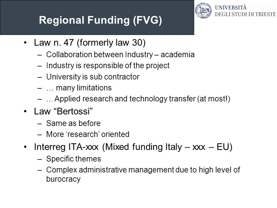 Regional Funding (FVG) Law n.