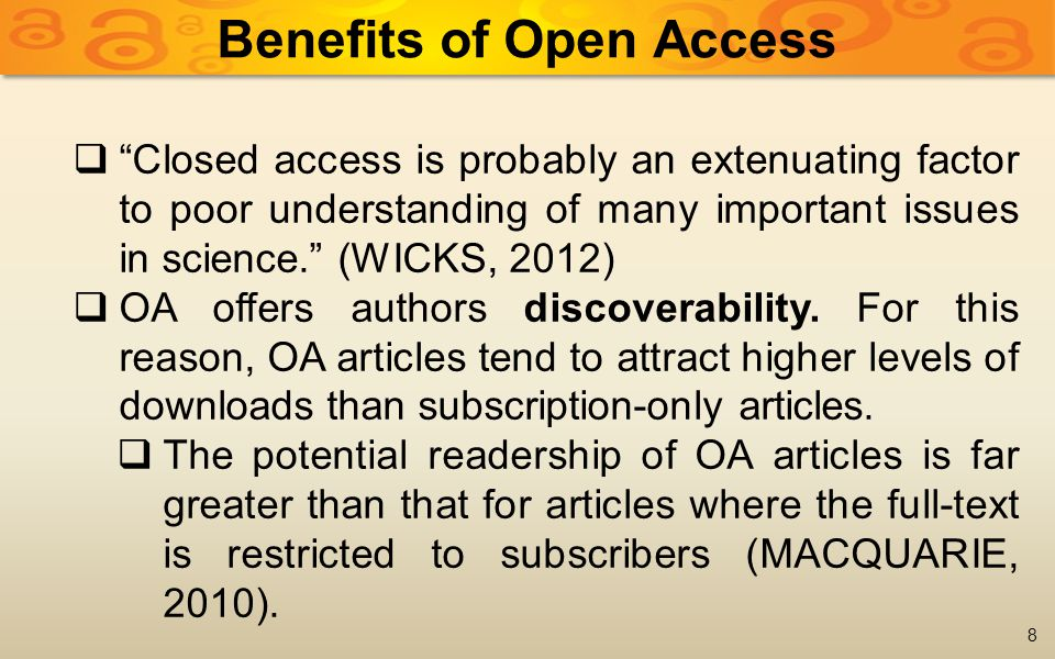  Authors (or their employers or funders) can retain the rights they need to make the work OA, assigning to the journal publisher the right to publish the work (and to have the exclusive right to do this, if required).
