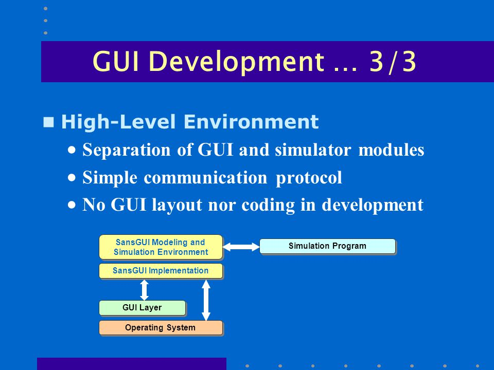 GUI Development … 3/3 n High-Level Environment  Separation of GUI and simulator modules  Simple communication protocol  No GUI layout nor coding in development Operating System SansGUI Implementation SansGUI Modeling and Simulation Environment SansGUI Modeling and Simulation Environment Simulation Program GUI Layer