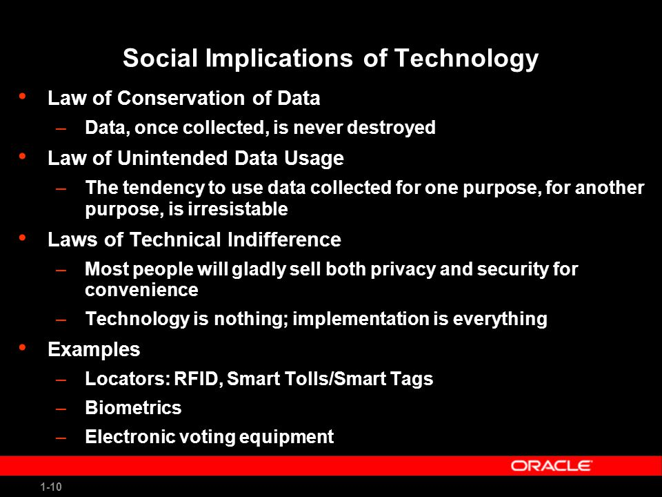 1-10 Social Implications of Technology Law of Conservation of Data –Data, once collected, is never destroyed Law of Unintended Data Usage –The tendency to use data collected for one purpose, for another purpose, is irresistable Laws of Technical Indifference –Most people will gladly sell both privacy and security for convenience –Technology is nothing; implementation is everything Examples –Locators: RFID, Smart Tolls/Smart Tags –Biometrics –Electronic voting equipment