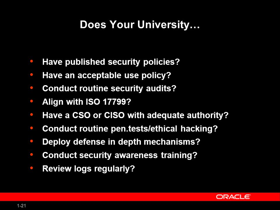 1-21 Does Your University… Have published security policies.