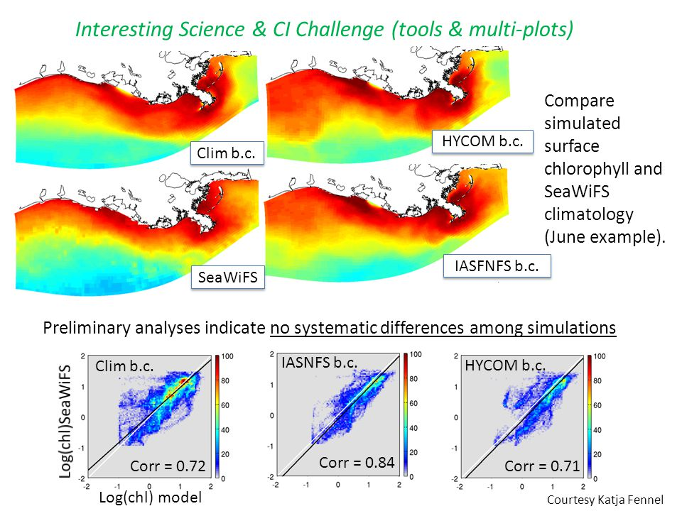 Preliminary analyses indicate no systematic differences among simulations Compare simulated surface chlorophyll and SeaWiFS climatology (June example)