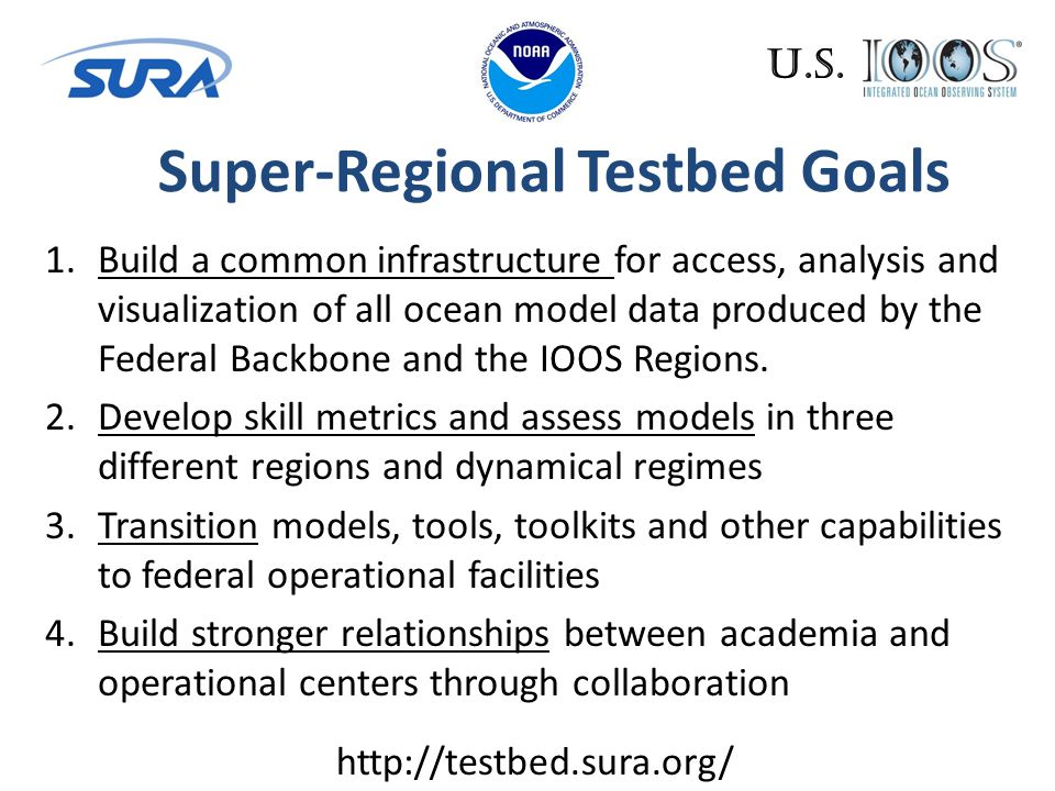 1.Build a common infrastructure for access, analysis and visualization of all ocean model data produced by the Federal Backbone and the IOOS Regions.