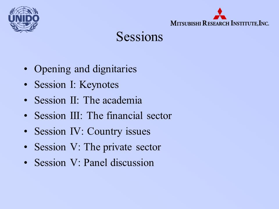 Sessions Opening and dignitaries Session I: Keynotes Session II: The academia Session III: The financial sector Session IV: Country issues Session V: The private sector Session V: Panel discussion