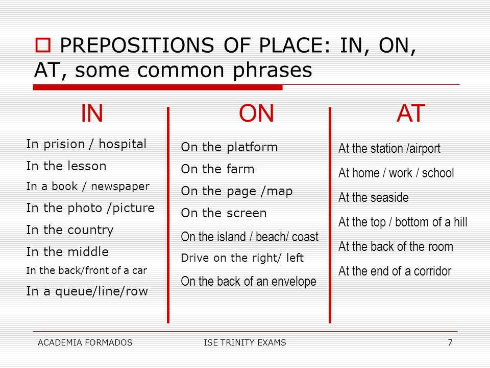 ACADEMIA FORMADOSISE TRINITY EXAMS7  PREPOSITIONS OF PLACE: IN, ON, AT, some common phrases INONAT In prision / hospital In the lesson In a book / ne
