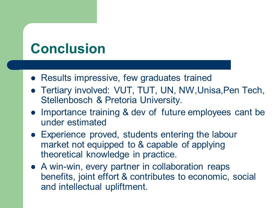 Conclusion Results impressive, few graduates trained Tertiary involved: VUT, TUT, UN, NW,Unisa,Pen Tech, Stellenbosch & Pretoria University.