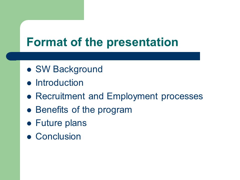 SW Background Started 1997, rationalization of Water boards - give job experience as req by tertiary institution curriculum - render social responsibility to communities - Create a pool for qualified & experienced individuals - Promote skills development aim at supporting EE 3 parties got into a traineeship contract & work program agreement Program structured – satisfy operational req as well as academic institution Aim of co-operation – deliver competent employees thru skills & intimate knowledge of the field