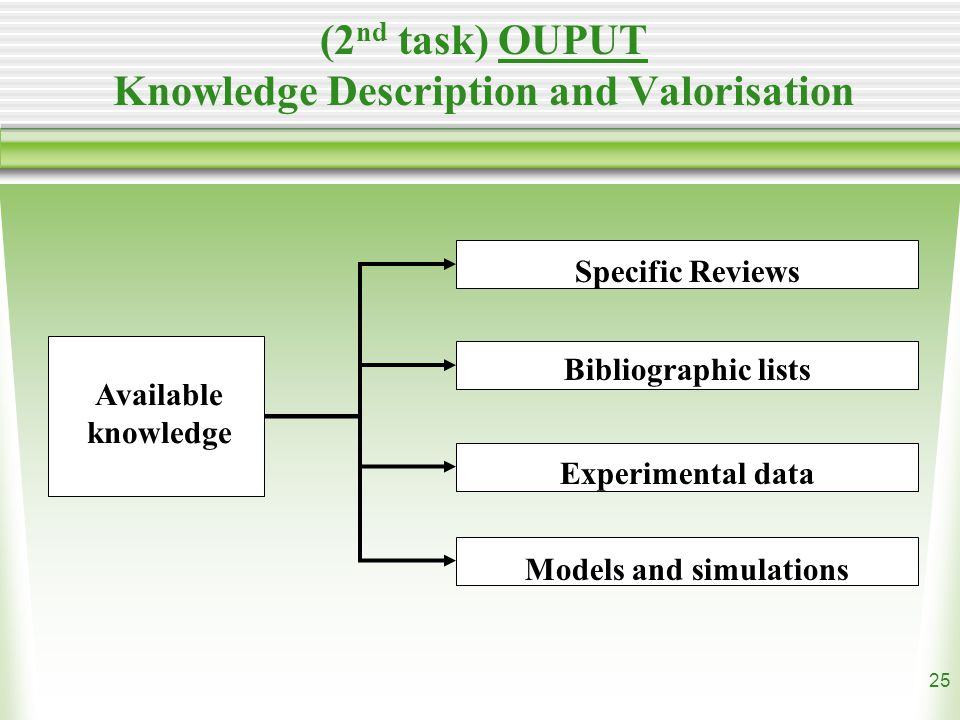 25 (2 nd task) OUPUT Knowledge Description and Valorisation Available knowledge Specific Reviews Bibliographic lists Experimental data Models and simulations