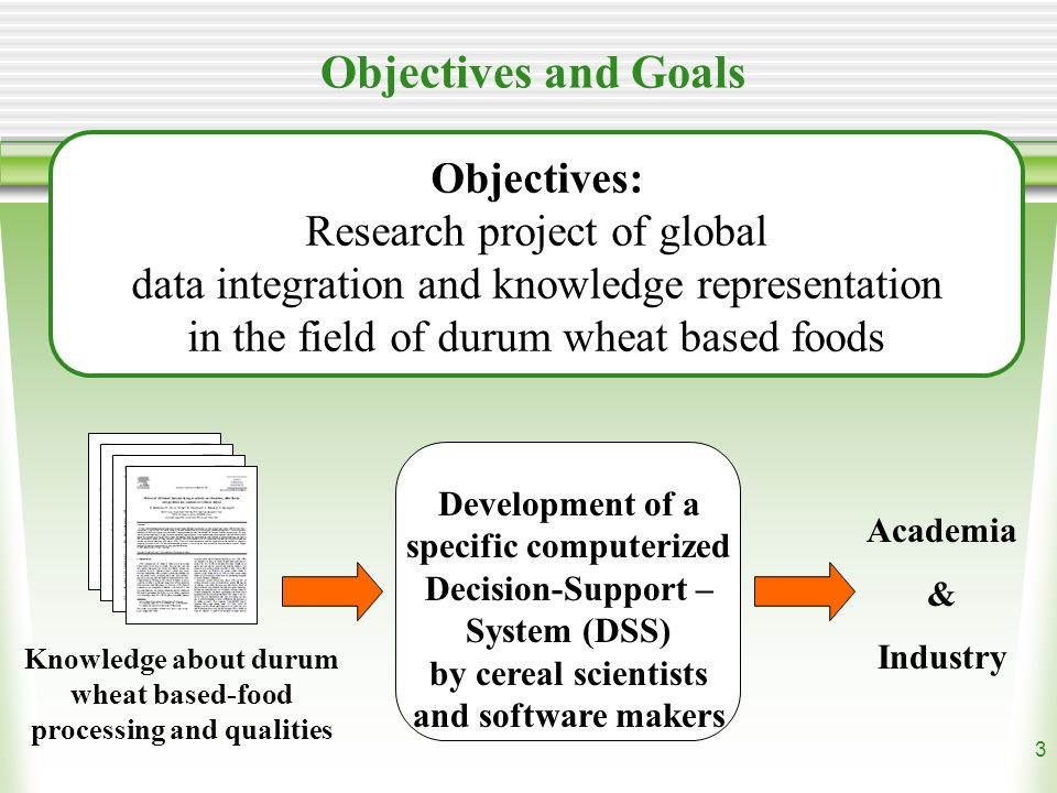 3 Objectives and Goals Objectives: Research project of global data integration and knowledge representation in the field of durum wheat based foods Development of a specific computerized Decision-Support – System (DSS) by cereal scientists and software makers Academia & Industry Knowledge about durum wheat based-food processing and qualities