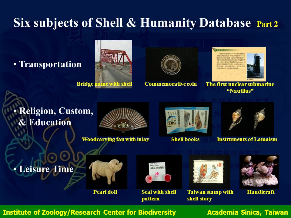 Institute of Zoology/Research Center for Biodiversity Academia Sinica, Taiwan Six subjects of Shell & Humanity Database Part 2 Transportation Religion, Custom, & Education Leisure Time Bridge name with shell Commemorative coin The first nuclear submarine Nautilus Woodcarving fan with inlayShell booksInstruments of Lamaism Pearl dollSeal with shell pattern Taiwan stamp with shell story Handicraft