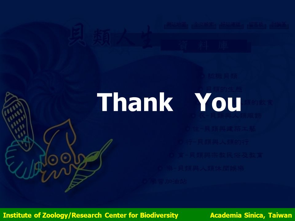 Thank You Institute of Zoology/Research Center for Biodiversity Academia Sinica, Taiwan