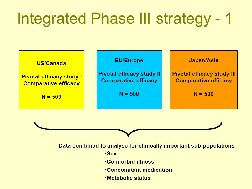 Integrated Phase III strategy - 1 US/Canada Pivotal efficacy study I Comparative efficacy N = 500 EU/Europe Pivotal efficacy study II Comparative effi