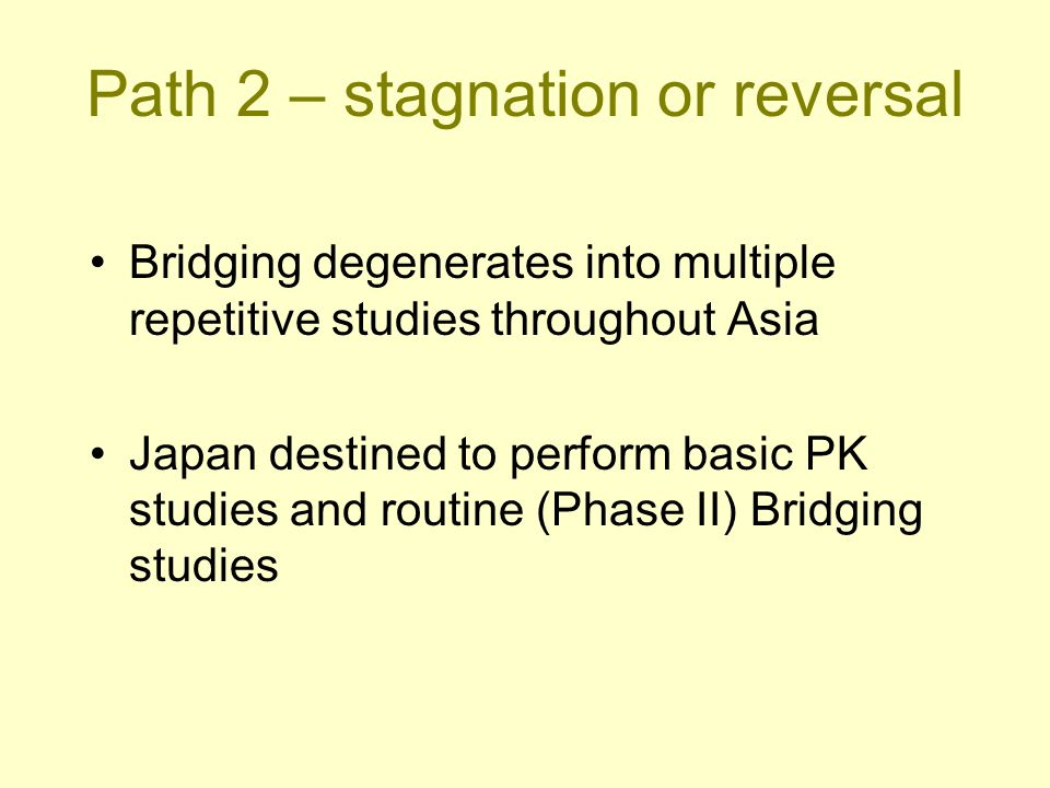 Bridging degenerates into multiple repetitive studies throughout Asia Japan destined to perform basic PK studies and routine (Phase II) Bridging studi