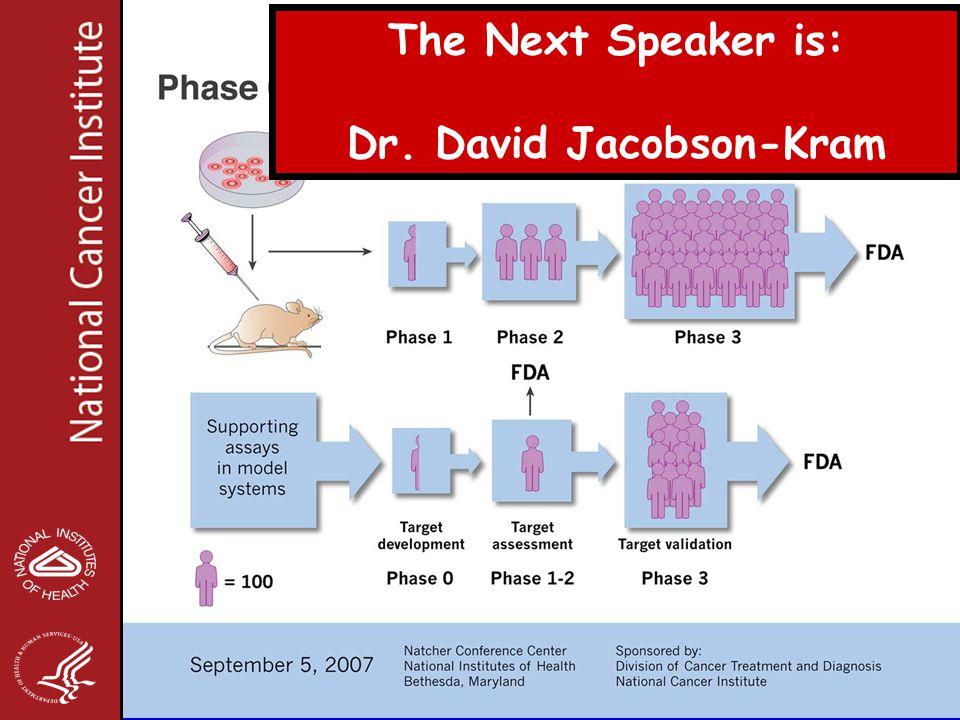 The Next Speaker is: Dr. David Jacobson-Kram