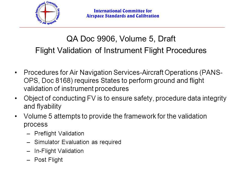 QA Doc 9906, Volume 5, Draft Flight Validation of Instrument Flight Procedures Procedures for Air Navigation Services-Aircraft Operations (PANS- OPS,
