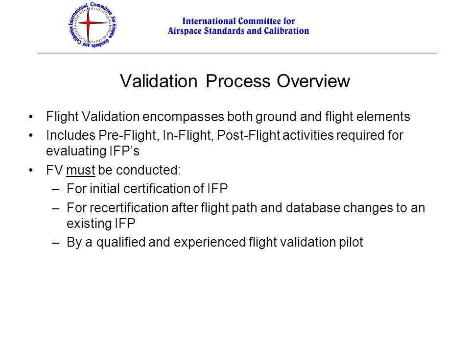 Validation Process Overview Flight Validation encompasses both ground and flight elements Includes Pre-Flight, In-Flight, Post-Flight activities requi