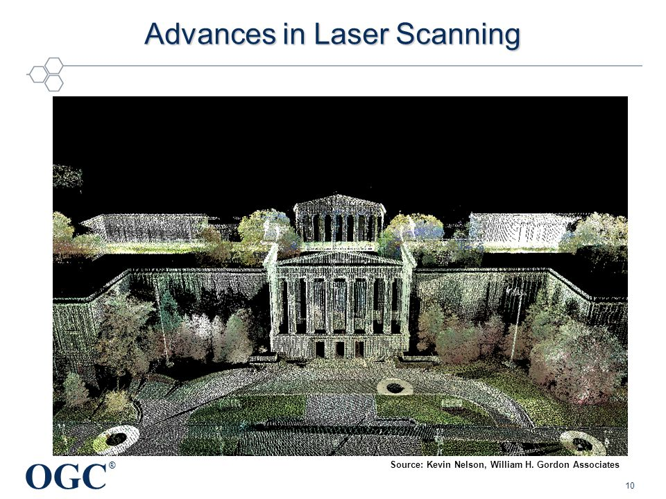 OGC ® Advances in Laser Scanning 10 Source: Kevin Nelson, William H. Gordon Associates