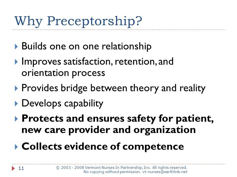 Why Preceptorship.