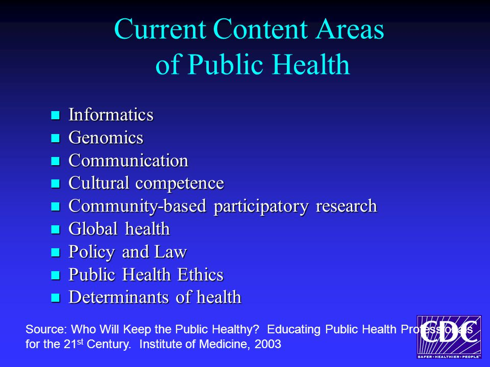 Current Content Areas of Public Health Informatics Informatics Genomics Genomics Communication Communication Cultural competence Cultural competence Community-based participatory research Community-based participatory research Global health Global health Policy and Law Policy and Law Public Health Ethics Public Health Ethics Determinants of health Determinants of health Source: Who Will Keep the Public Healthy.