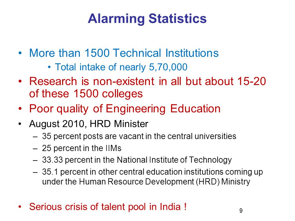 9 Alarming Statistics More than 1500 Technical Institutions Total intake of nearly 5,70,000 Research is non-existent in all but about 15-20 of these 1500 colleges Poor quality of Engineering Education August 2010, HRD Minister –35 percent posts are vacant in the central universities –25 percent in the IIMs –33.33 percent in the National Institute of Technology –35.1 percent in other central education institutions coming up under the Human Resource Development (HRD) Ministry Serious crisis of talent pool in India !