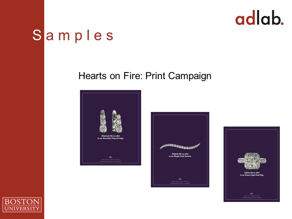 Hearts on Fire: Print Campaign S a m p l e s