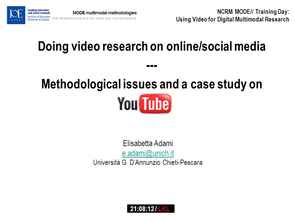 and Video-interaction Methodological issues: Research design Data selection Data storage Transcription Analysis Theory Ethical issues Case-Study: Prompt response