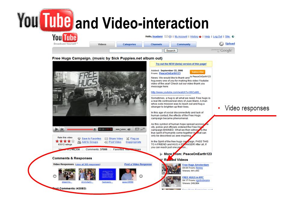 and Video-interaction Data selection Most responded videos of 'All time' (largest threads of video-interaction) Bug: http://www.google.com/support/forum/p/youtube/thread?tid=2 4702e7622d6ab55&hl=en http://www.google.com/support/forum/p/youtube/thread?tid=2 4702e7622d6ab55&hl=en Online data change.