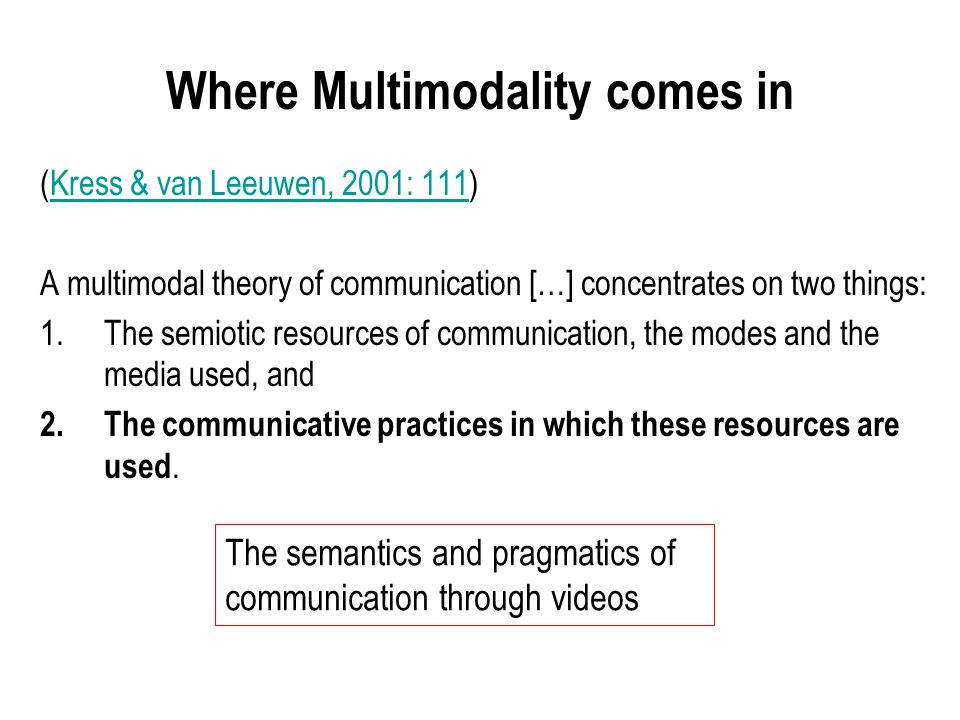 (Kress & van Leeuwen, 2001: 111)Kress & van Leeuwen, 2001: 111 A multimodal theory of communication […] concentrates on two things: 1.The semiotic resources of communication, the modes and the media used, and 2.The communicative practices in which these resources are used.