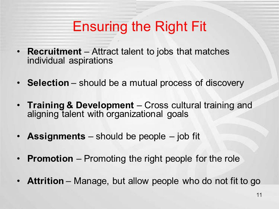Ensuring the Right Fit Recruitment – Attract talent to jobs that matches individual aspirations Selection – should be a mutual process of discovery Tr