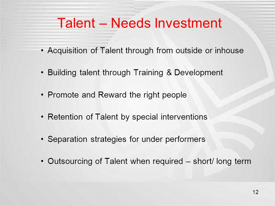 Talent – Needs Investment Acquisition of Talent through from outside or inhouse Building talent through Training & Development Promote and Reward the