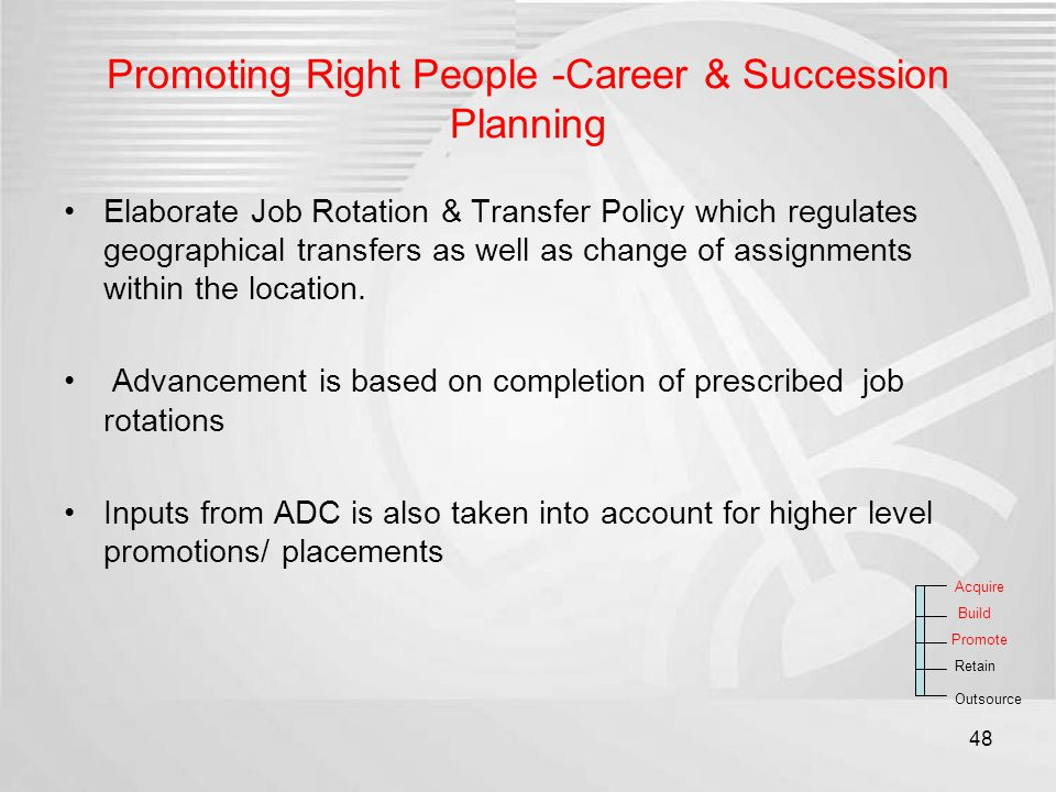 Promoting Right People -Career & Succession Planning Elaborate Job Rotation & Transfer Policy which regulates geographical transfers as well as change
