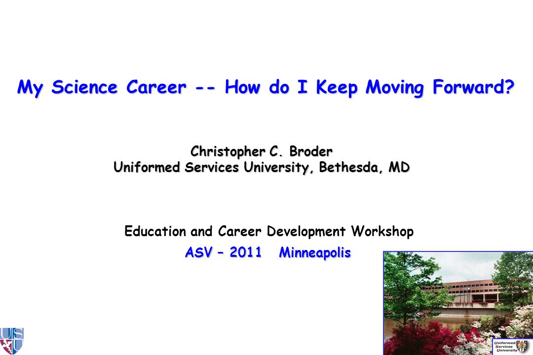 Education and Career Development Workshop ASV – 2011 Minneapolis Christopher C.