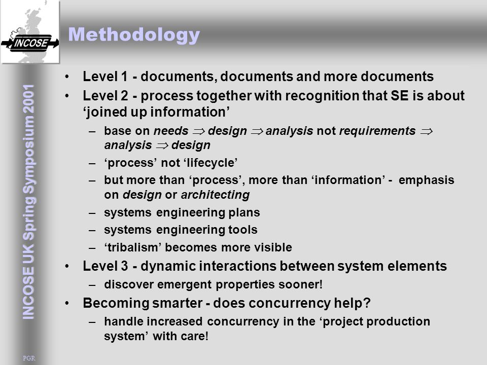INCOSE UK Spring Symposium 2001 PGR Methodology Level 1 - documents, documents and more documents Level 2 - process together with recognition that SE is about 'joined up information' –base on needs  design  analysis not requirements  analysis  design –'process' not 'lifecycle' –but more than 'process', more than 'information' - emphasis on design or architecting –systems engineering plans –systems engineering tools –'tribalism' becomes more visible Level 3 - dynamic interactions between system elements –discover emergent properties sooner.